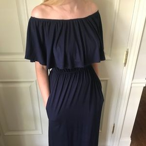 Navy Ruffle Maxi-Dress